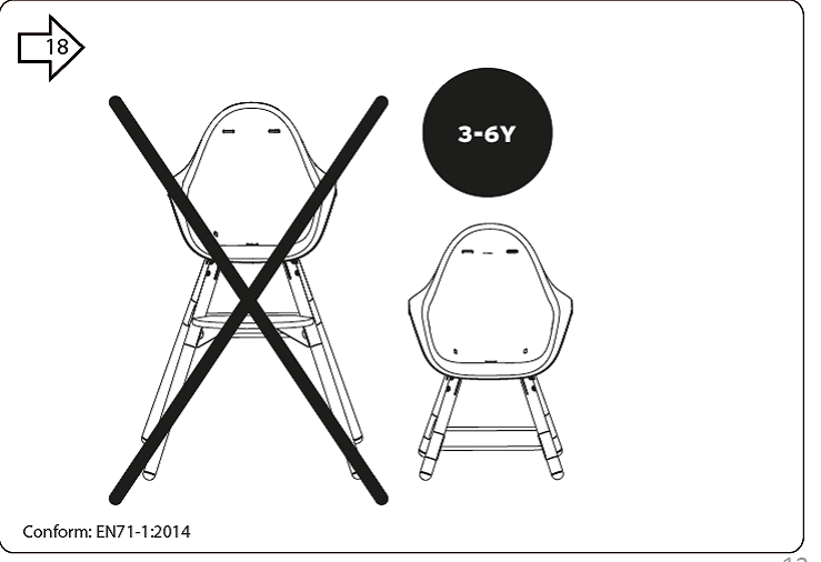 Childhome Evolu 2 High Chair Black Gold 2in1 Bumper