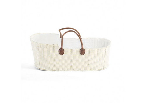 Childhome Moses basket OffWhite + leather handle + mattress