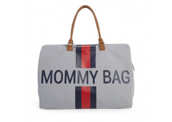 Mommy Bag Big Canvas Grey Stripes red/blue