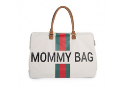 Mommy Bag Big Canvas Off White Stripes green/red