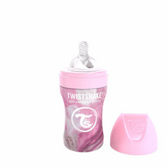 Twistshake® Anti-Colic Stainless Steel Feeding Bottle 260 ml Marble Pink