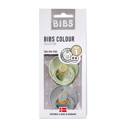 BIBS Natural Rubber Baby Pacifier (Sage&Cloud) 2-Pack