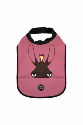 High neck bib Baby Livia - moose bordo