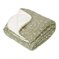 Little Dutch Bassinet blanket pure & soft - Wild Flowers Olive 70x100