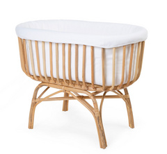 Childhome Rattan Cradle + Jersey Cover Off White + Mattress