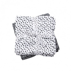 Burp cloth, 2-pack, Happy Dots Grey - Done by Deer