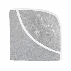 Embroidered Hooded Towel - Sheep Gray