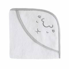Embroidered Hooded Towel - Sheep White