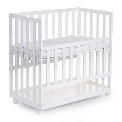 Bedside Crib Beech white 50x90 + wheels