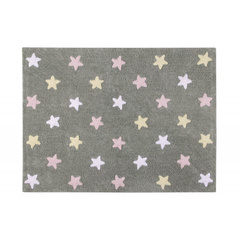 Washable rug Lorena Canals - Tricolor Stars Grey - Pink