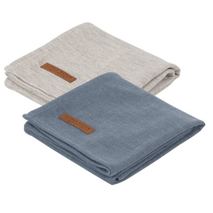 Komplet 2 pamučne pelene Little Dutch - Pure Blue/Grey