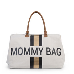 Torba Mommy Bag Big Canvas Off White stripes black/gold