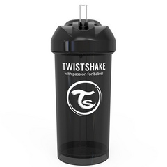 Twistshake® Lonček s slamico 360ml (12+m) Black