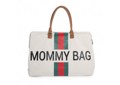 Torba Mommy Bag Big Canvas Off White Stripes green/red