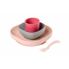 Beaba - Set Stoviglie In Silicone - pink