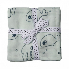 Done by Deer® Set Panni burp - Sea friends, blue