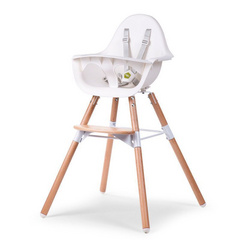 Evolu 2 Chair Seggiolone Evolutivo e Convertibile White/Natural